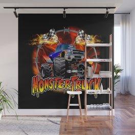 Monster Truck blue on Fire                                          Wall Mural