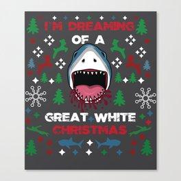 White Christmas Shark Ugly Cardigan Gift Canvas Print