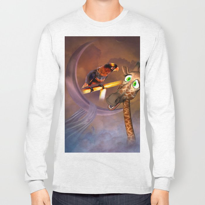 Funny cute giraffe with parrot Long Sleeve T-shirt