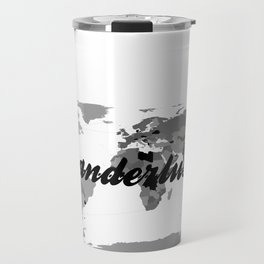 Wanderlust Black and White Map Travel Mug