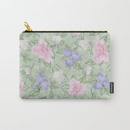 Flower Play Pink Lavender Green Antique Look Carry-All Pouch
