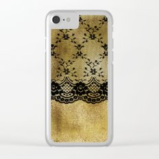 Black floral elegant lace on gold metal background- #Society6 Clear iPhone Case