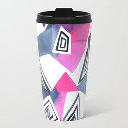 Geo Triangle Pink Navy Travel Mug