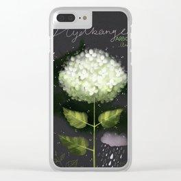 "Botanical illustration ""Hydrangea Arborescens"" Clear iPhone Case"