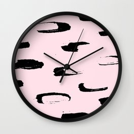 black & very pale pink /geometric series Wall Clock