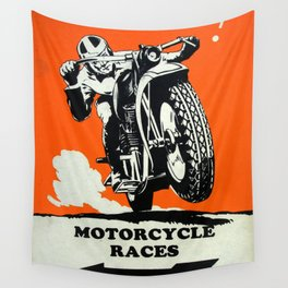 Motorcycle Races - Vintage Poster Wall Tapestry