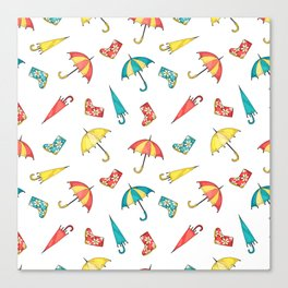 Modern autumn yellow red teal watercolor umbrella wellies Canvas Print