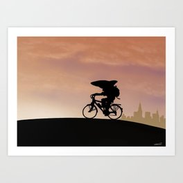 Shark Cyclist Art Print