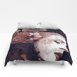 Obey Me: Blood (graffiti flower woman profile) Comforters