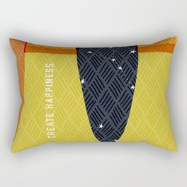 Create Happiness Modern Geometric Masculine Rectangular Pillow