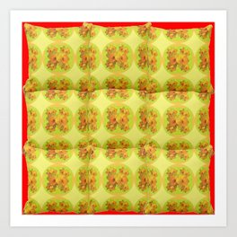 Quilted Style Lime Green Art Yellow Daffodils  Pattern Art Print
