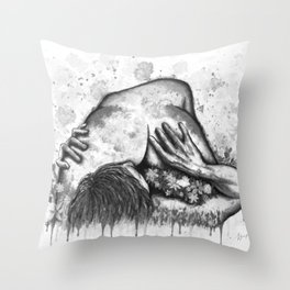 Erotic Spring b&w Throw Pillow