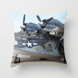 World War II Vintage Army Airplane (Sea Plane) Throw Pillow