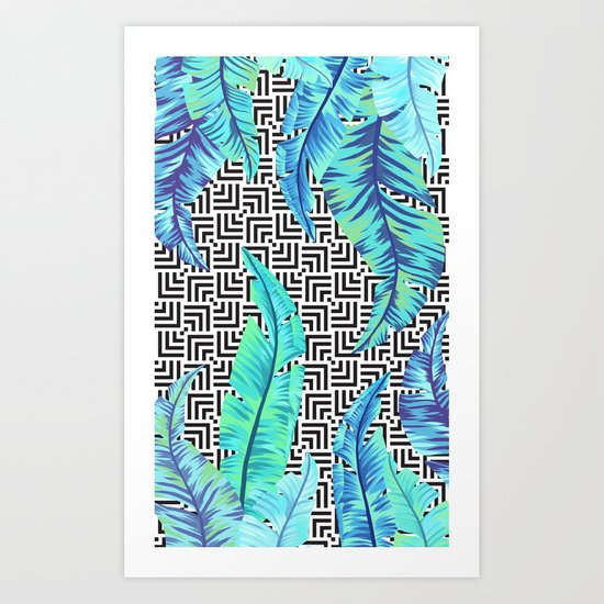turquoise tropical leaves Art Print
