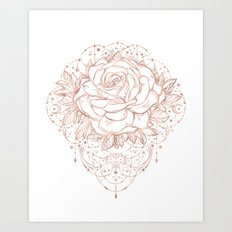 Mandala Lunar Rose Gold Art Print