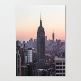 Empire State Building Sunset New York City   Travel Photography Canvas Print