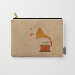 Vintage grammophone with music splashes on brown  Carry-All Pouch