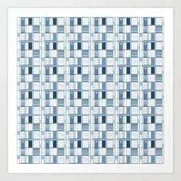 Blue-Cuadricula Art Print