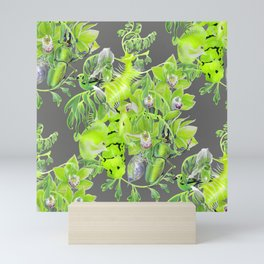 Chartreuse pattern Mini Art Print