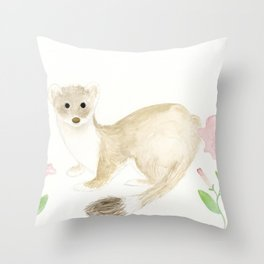 Weasel With Pink Flowers Throw Pillow