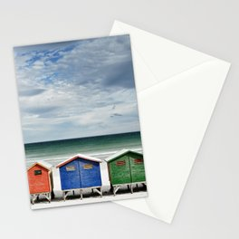 Beach Huts - Colorful houses and Sea, Cape Town, South Africa Stationery Cards