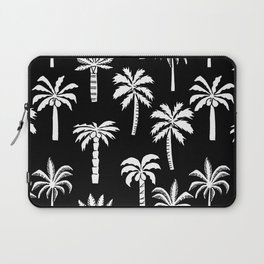 Palm Trees linocut black and white tropical summer art minimalist decor Laptop Sleeve