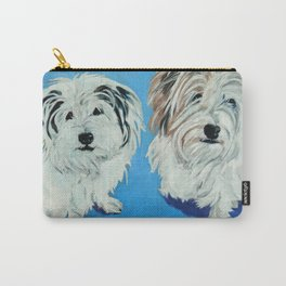 Two White Pups Dog Portrait Carry-All Pouch