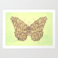 butterfly Art Prints featuring Butterfly by Mike Koubou
