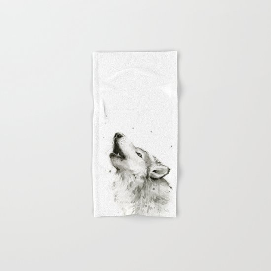 Wolf Howling Watercolor Wildlife Painting Hand & Bath Towel