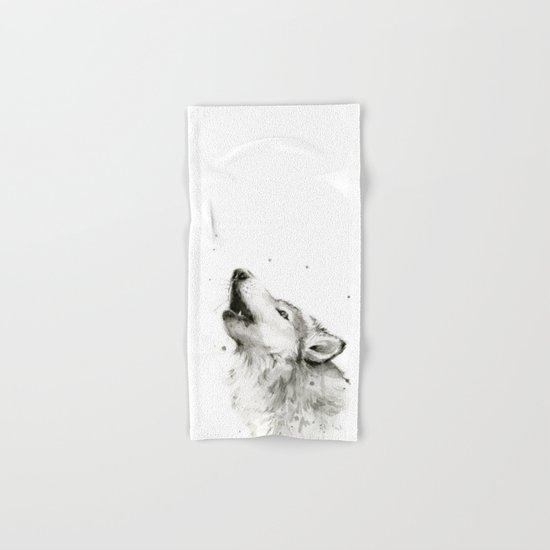 Wolf Howling Watercolor Animals Wildlife Painting Animal Portrait Hand & Bath Towel