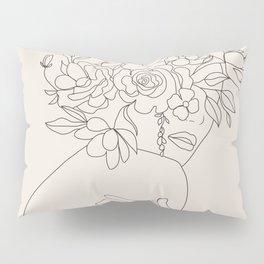 Woman with Flowers Minimal Line III Pillow Sham