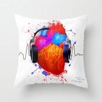 paramore Throw Pillows featuring No Music - No Life by Sitchko Igor