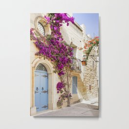 Wall wit cute door and flowers in Mdina, Malta Metal Print