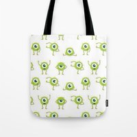 monster inc Tote Bags featuring Monster's Inc. by Pink Berry Patterns