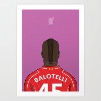 Mario Balotelli Football Back Liverpool FC Art Print