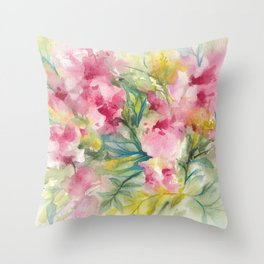 Pink Floral Abstract Throw Pillow