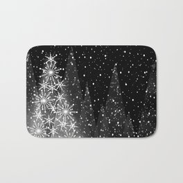 Elegant Black and White Christmas Trees Holiday Pattern Bath Mat