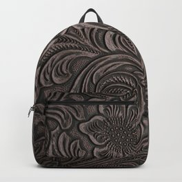 Distressed Smoky Tooled Leather Backpack