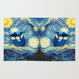 Soaring Tardis doctor who starry night oil painting Rug