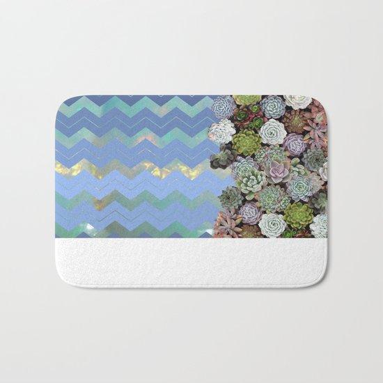 Opal & Succulent Chevron Pattern Bath Mat