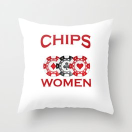 I Like My Chips How I Like My Women Stacked Throw Pillow