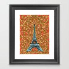 Eiffel Tower Drawing Meditation - Blue/Red/Yellow Framed Art Print