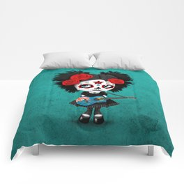 Day of the Dead Girl Playing Turks and Caicos Flag Guitar Comforters