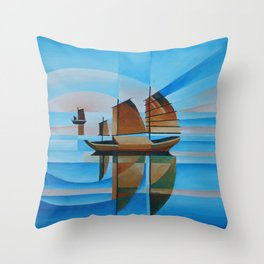 Soft Skies, Cerulean Seas and Cubist Junks Throw Pillow