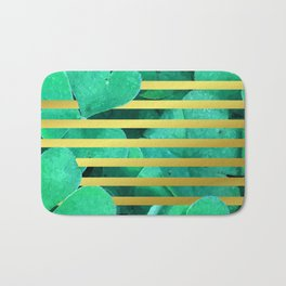 Clover and Stripes Geometric Illustration Bath Mat