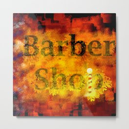 Barber Shop Sign Metal Print