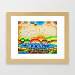 Flying dandelions Framed Art Print