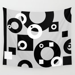 Rings ad rectangles black & white Wall Tapestry