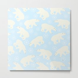 Polar Bear Snow Flake Pattern Metal Print