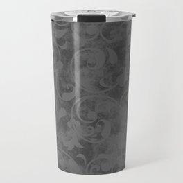 Modern Farmhouse Gray Damask Print Flower Vine on Weathered Background Travel Mug